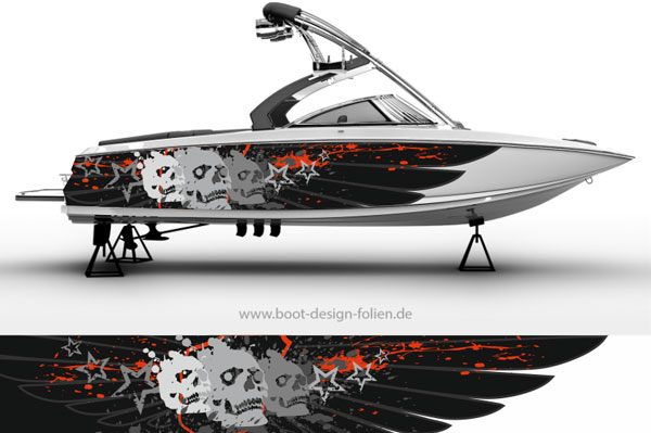 Boot Folierung mit Totenköpfen