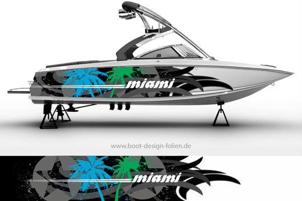 Boot Folierung mit Palmen und Wellen Miami